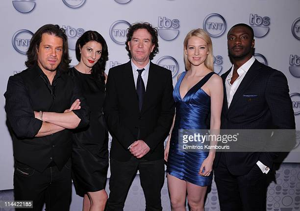 Actors Christian Kane Gina Bellman Timothy Hutton Beth Riesgraf and Aldis Hodge of Leverage attend the TEN Upfront 2011 at Hammerstein Ballroom on...