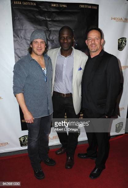 Actors Christian Kane Herman Wilkins and Tom O'Reilly arrive for the Los Angeles Premiere of 'Miles To Go' held at Writers Guild Theater on April 5...
