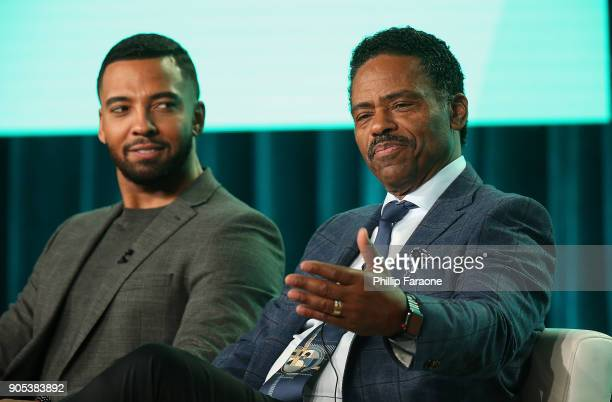 Actors Christian Keyes and Richard Lawson of 'In Contempt' speak onstage during the BET Network portion of the 2018 Winter TCA on January 15 2018 in...
