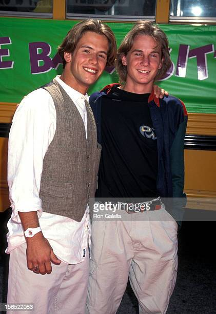 Actors Christian Oliver and Austin O'Brien attend The BabySitters Club Culver City Premiere on August 13 1995 at Mann Culver Plaza 6 Theatres in...