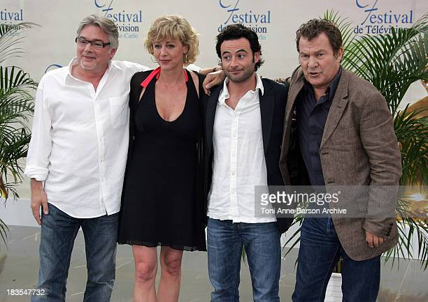 Actors Christian Rauth Cecile Auclert Sebastien Knafo and Martin Lamotte attend a photocall promoting the television series 'Pere Maire' on the fifth...