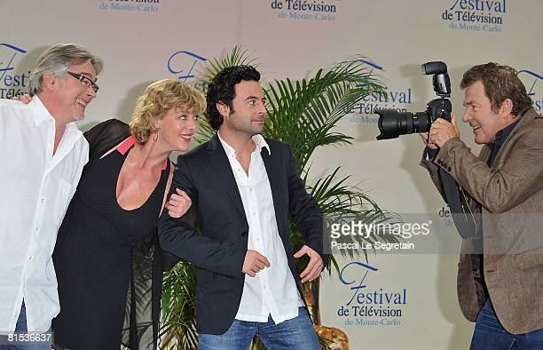 Actors Christian Rauth Cecile Auclert Sebastien Knafo and Martin Lamotte attend a photocall promoting the television series Pere Maire on the fifth...