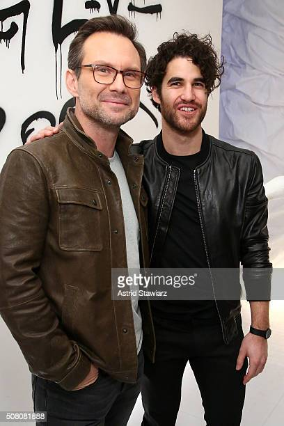 Actors Christian Slater and Darren Criss attend John Varvatos Fall/Winter 2016 Multimedia Experience on February 2 2016 in New York City