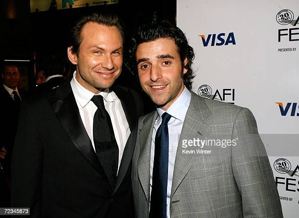 Actors Christian Slater and David Krumholtz arrives at the AFI FEST presented by Audi opening night gala of Bobby at the Grauman's Chinese Theatre on...