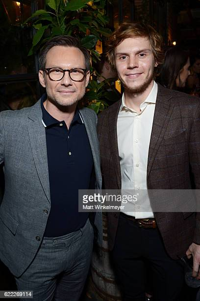 Actors Christian Slater and Evan Peters attend the Hollywood Foreign Press Association and InStyle celebrate the 2017 Golden Globe Award Season at...