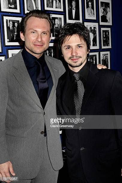 Actors Christian Slater and Freddy Rodriguez arrive at The Times BFI 50th London Film Festival Times gala screening of Bobby at Odeon West End on...