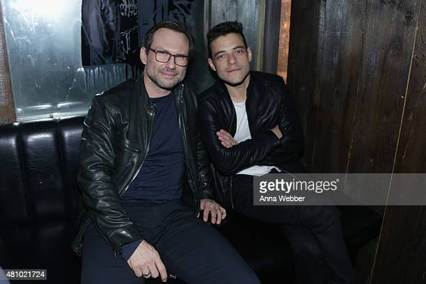 Actors Christian Slater and Rami Malek attend the John Varvatos fashion show after party at Electric Room on July 16 2015 in New York City