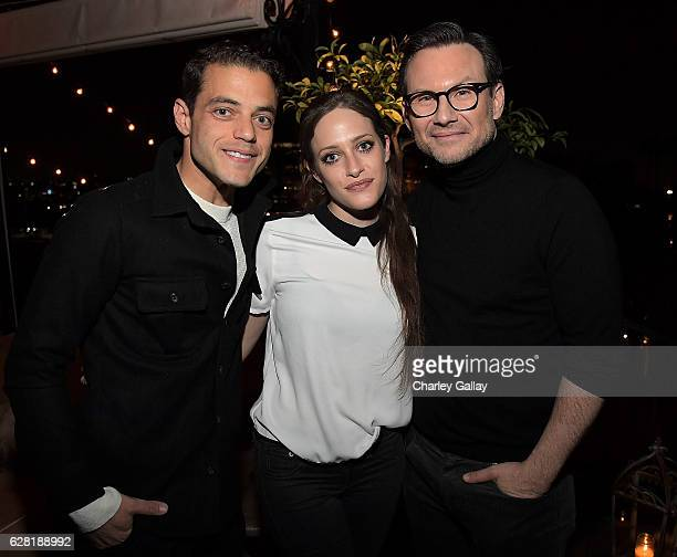 Actors Christian Slater Carly Chaiken and Rami Malek attend GQ and AG Dinner with Christian Slater at Petit Ermitage Hotel on December 6 2016 in West...