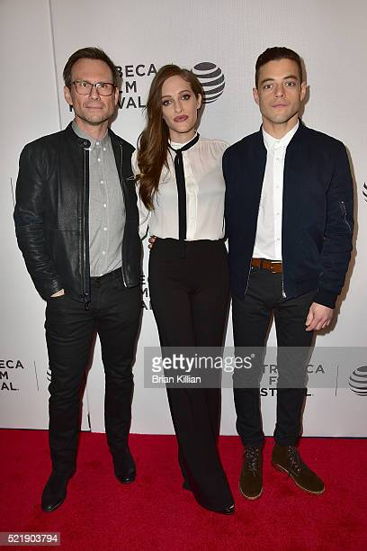 Actors Christian Slater, Carly Chaikin, and Rami Malek attend the HACKED by DEF CON & Mr. Robot - 2016 Tribeca Film Festival at Spring Studios on...