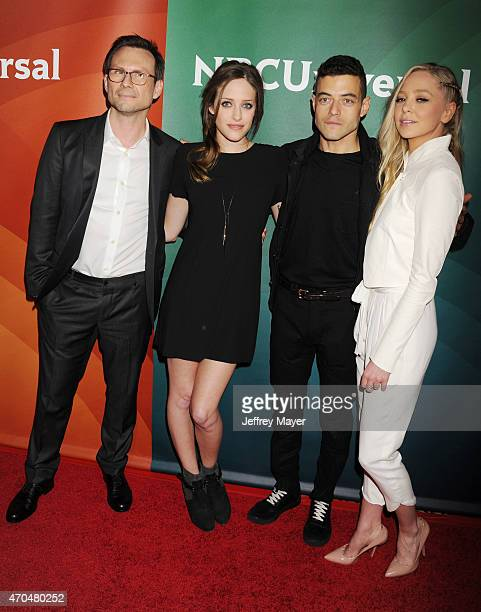 Actors Christian Slater, Carly Chaikin, Rami Malek and Portia Doubleday attend the 2015 NBCUniversal Summer Press Day held at the The Langham...