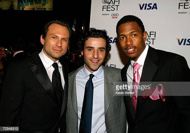 Actors Christian Slater David David Krumholtz and Nick Cannon arrive at the AFI FEST presented by Audi opening night gala of Bobby at the Grauman's...