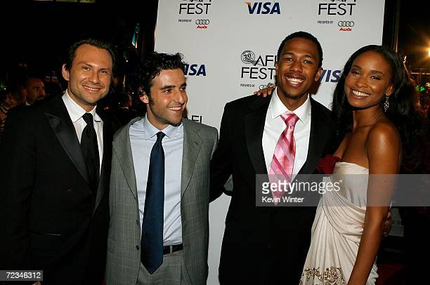 Actors Christian Slater David David Krumholtz Nick Cannon and Joy Bryant arrive at the AFI FEST presented by Audi opening night gala of Bobby at the...