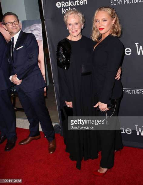 Actors Christian Slater Glenn Close and Annie Starke attend Sony Pictures Classics' Los Angeles premiere of The Wife at the Pacific Design Center on...