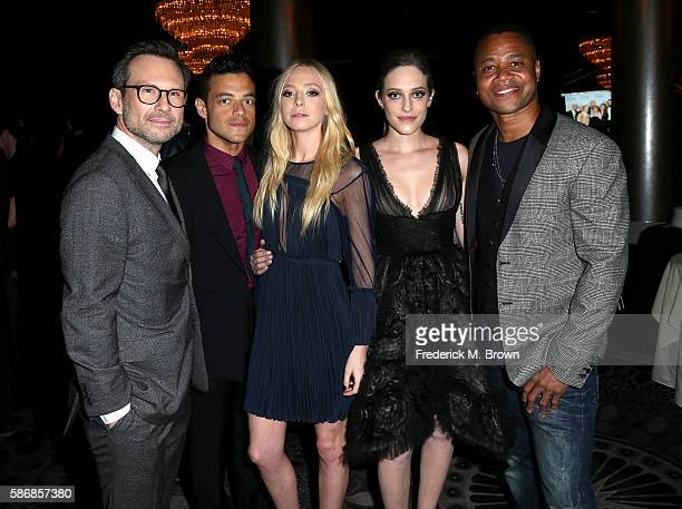 Actors Christian Slater Rami Malek Portia Doubleday Carly Chaikin and Cuba Gooding Jr attend the 32nd annual Television Critics Association Awards...