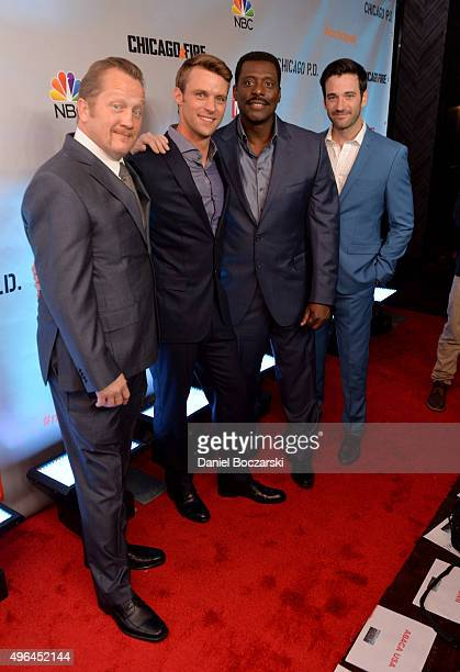 Actors Christian Stolte Jesse Spencer Eamonn Walker and Colin Donnell attend a premiere party for NBC's 'Chicago Fire' 'Chicago PD' and 'Chicago Med'...