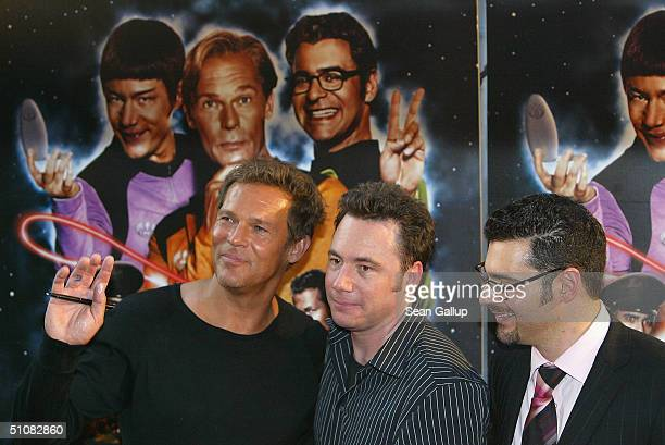 Actors Christian Tramitz Michael Bully Herbig and Rick Kavanian attend the premiere of Raumschiff Surprise Periode 1 at the Matthaeser Palast on July...