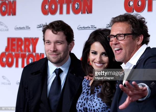 Actors Christian Ulmen Monica Cruz and Christian Tramitz attend the German premiere of 'Jerry Cotton' on February 28 2010 in Munich Germany
