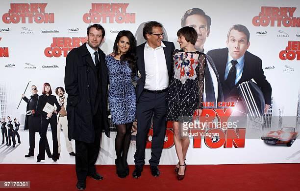 Actors Christian Ulmen Monica Cruz Christian Tramitz and Christiane Paul attend the German premiere of 'Jerry Cotton' on February 28 2010 in Munich...