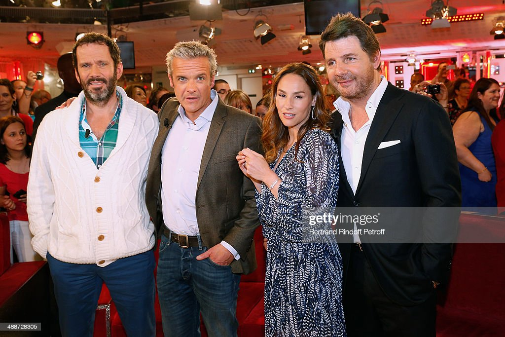 Actors Christian Vadim, David Brecourt, Vanessa Demouy and her husband Philippe Lellouche present the theater play 'L'appel de Londres' and celebrate their 10 years of playing together in 4 plays at the 'Vivement Dimanche' French TV Show, held at Pavillon Gabriel on May 14, 2014 in Paris, France.