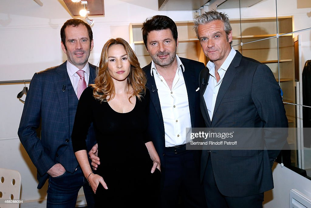 Actors Christian Vadim, Vanessa Demouy, Philippe Lellouche (autor of the play) and David Brecourt present the Theater Play 'L'appel de Londres', performed at Theatre de la Gaite Montparnasse, during the 'Vivement Dimanche' French TV Show at Pavillon Gabriel on April 1, 2015 in Paris, France.