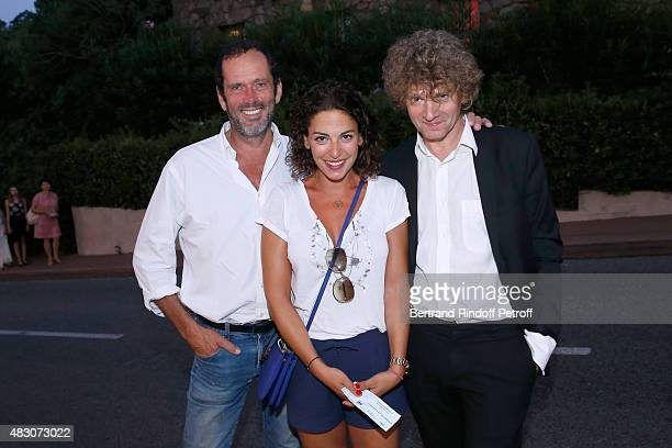 Actors Christian Vadim wife of Davy Sardou Noemie Elbaz and Nicolas Vaude attends the 'Georges and Georges' Theater play during the 31th Ramatuelle...