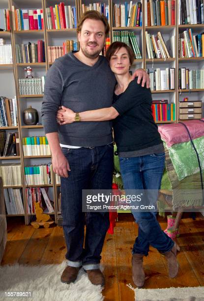 Actors Christiane Paul and Charly Huebner pose for the media during a set visit of the movie 'Eltern' on November 8 2012 in Berlin Germany