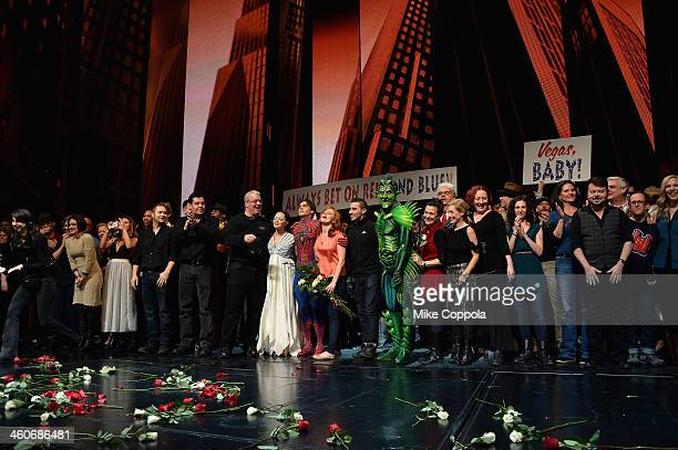 Actors Christina DeCicco Justin Matthew Sargent Rebecca Faulkenberry and the cast from SpiderMan Turn Off The Dark take a curtain call at the final...