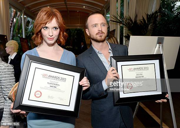 Actors Christina Hendricks and Aaron Paul AFI Award honorees attend the 14th annual AFI Awards Luncheon at the Four Seasons Hotel Beverly Hills on...