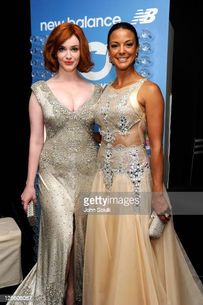 Actors Christina Hendricks and Eva La Rue attend The HP Touchsmart Gift Lounge backstage at the Nokia Theatre, in celebration of The 63rd Primetime...