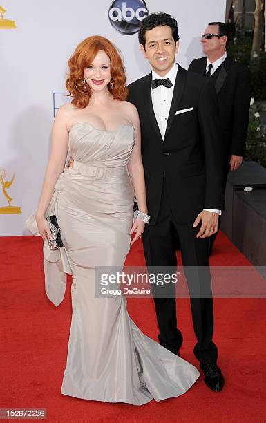 Actors Christina Hendricks and Geoffrey Arend arrive at the 64th Primetime Emmy Awards at Nokia Theatre LA Live on September 23 2012 in Los Angeles...