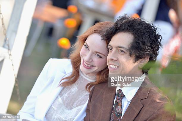 Actors Christina Hendricks and Geoffrey Arend attend the FifthAnnual Veuve Clicquot Polo Classic at Will Rogers State Historic Park on October 11...