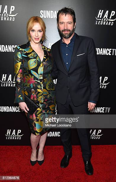 Actors Christina Hendricks and James Purefoy attend SundanceTV's 'Hap and Leonard' Premiere Party at Hill Country Barbecue Market on February 25 2016...