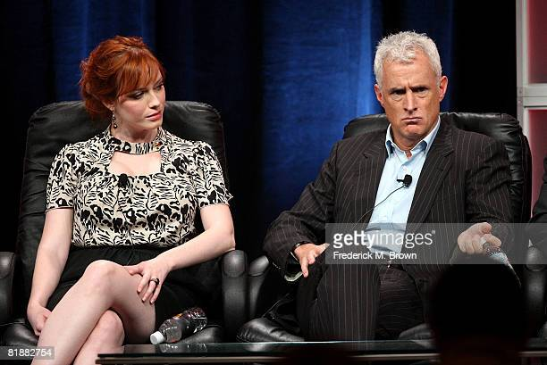 Actors Christina Hendricks and John Slattery of Mad Men speak during day two of the AMC Channel 2008 Summer Television Critics Association Press Tour...