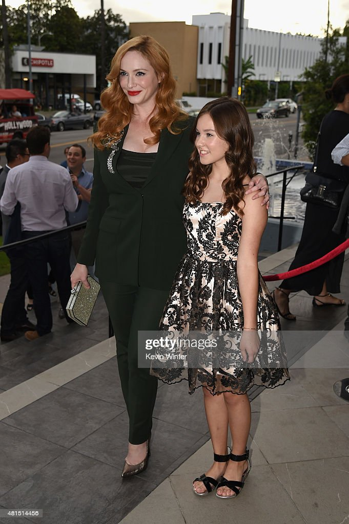 Actors Christina Hendricks and Natalie Precht attend the premiere of DIRECTV's 'Dark Places' at Harmony Gold Theatre on July 21, 2015 in Los Angeles, California.