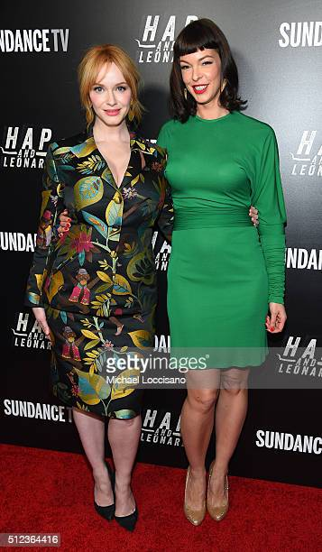 Actors Christina Hendricks and Pollyanna McIntosh attend SundanceTV's 'Hap and Leonard' Premiere Party at Hill Country Barbecue Market on February 25...