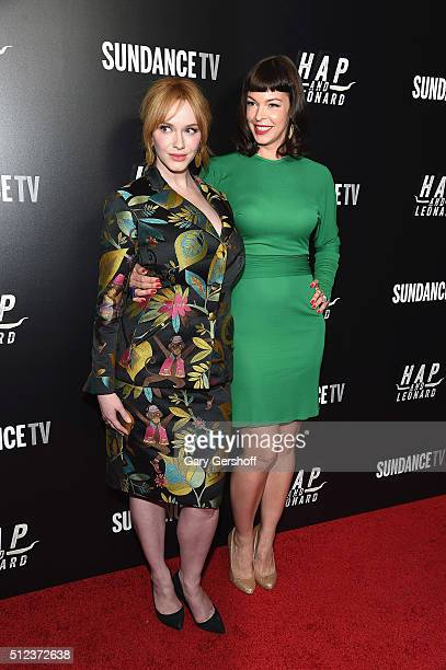 Actors Christina Hendricks and Pollyanna McIntosh attend the Hap and Leonard New York screening at Hill Country on February 25 2016 in New York City