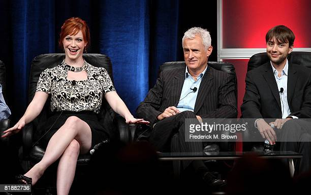Actors Christina Hendricks John Slattery and Vincent Kartheiser of Mad Men speaks during day two of the AMC Channel 2008 Summer Television Critics...