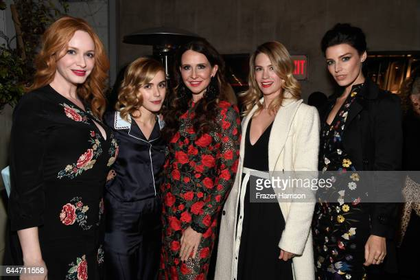Actors Christina Hendricks Kiernan Shipka costume designer Janie Bryant actors January Jones and Jessica Pare attend the launch for Matthew Weiner's...