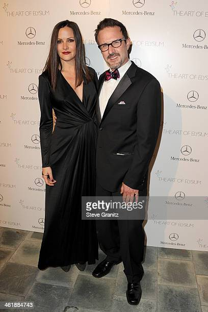 Actors Christina McLarty and David Arquette arrive at The Art of Elysium's 7th Annual HEAVEN Gala presented by Mercedes-Benz at Skirball Cultural...