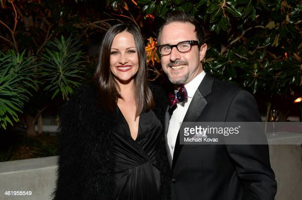 Actors Christina McLarty and David Arquette attend The Art of Elysium's 7th Annual HEAVEN Gala presented by Mercedes-Benz at Skirball Cultural Center...