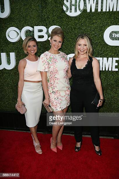 Actors Christine Lakin Jodie Sweetin and Beverley Mitchell arrive at the CBS CW Showtime Summer TCA Party at the Pacific Design Center on August 10...