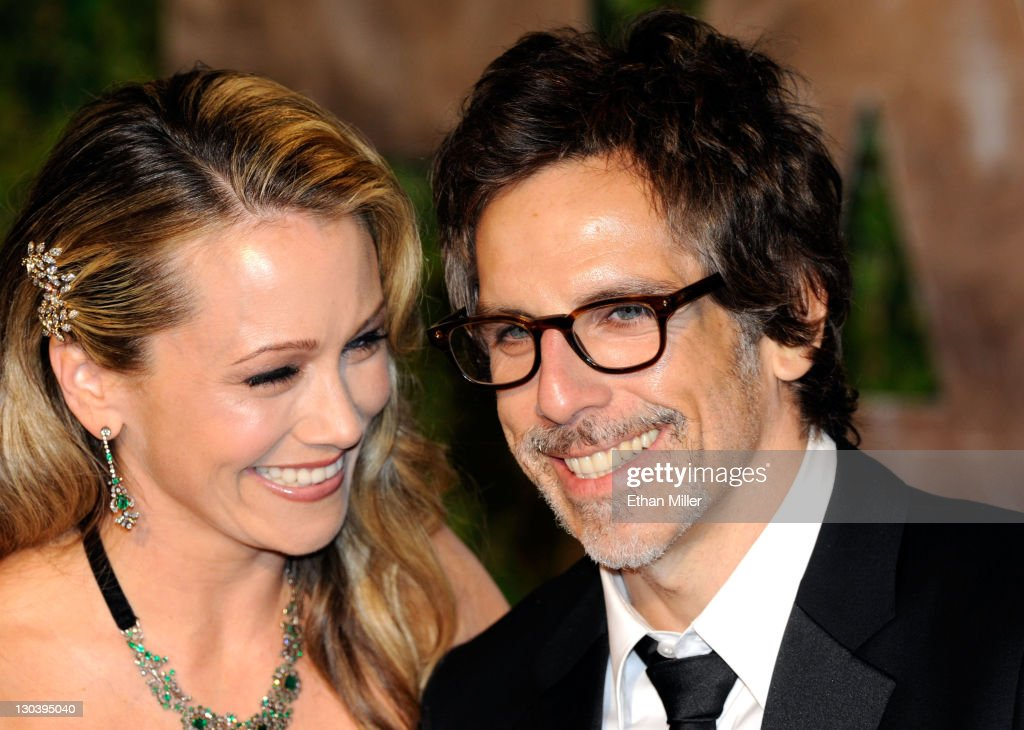 Actors Christine Taylor and Ben Stiller arrive at the 2010 Vanity Fair Oscar Party hosted by Graydon Carter held at Sunset Tower on March 7, 2010 in West Hollywood, California.