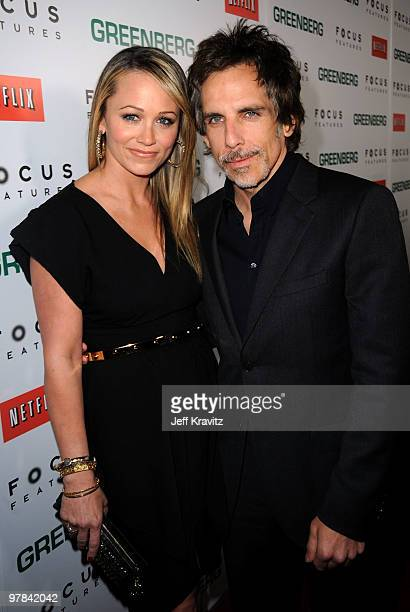 Actors Christine Taylor and Ben Stiller arrive at the premiere of 'Greenberg' presented by Focus Features at ArcLight Hollywood on March 18 2010 in...