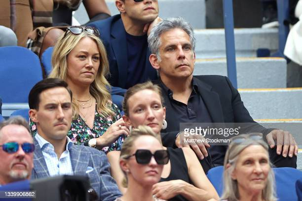 Actors Christine Taylor and Ben Stiller watch the Men's Singles final match between Daniil Medvedev of Russia and Novak Djokovic of Serbia on Day...
