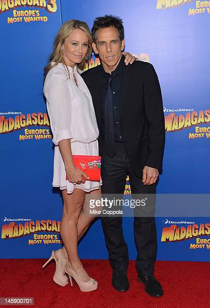 "Actors Christine Taylor-Stiller and Ben Stiller attend the ""Madagascar 3: Europe's Most Wanted"" New York Premier at Ziegfeld Theatre on June 7, 2012..."