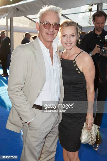 Actors Christoph M Ohrt and Dana Golombek attend the summer party 2018 of the German Producers Alliance on June 7 2018 in Berlin Germany
