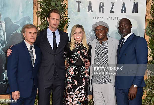 Actors Christoph Waltz Alexander Skarsgard Margot Robbie Samuel L Jackson and Djimon Hounsou attend the premiere of Warner Bros Pictures' 'The Legend...