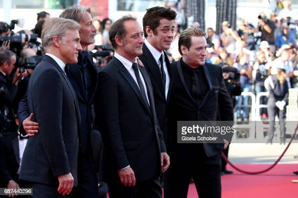 Actors Christoph Waltz Mads Mikkelsen Vincent Lindon Benicio del Toro and Benoit Magimel attends the 70th Anniversary of the 70th annual Cannes Film...