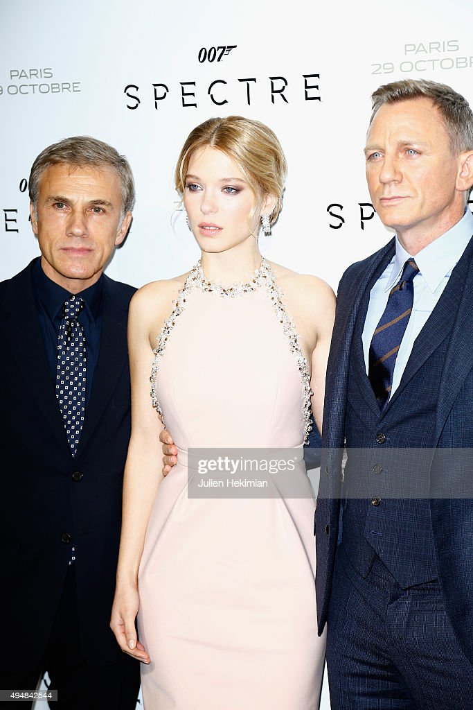 Actors Christoph Waltz,Lea Seydoux and Daniel Craig attend '007 Spectre' Paris Premiere at Le Grand Rex on October 29, 2015 in Paris, France.