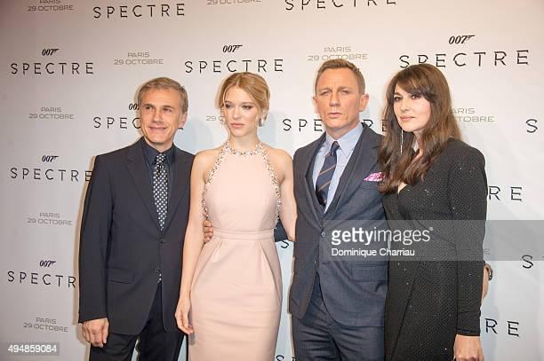 Actors Christoph WaltzLea Seydoux Daniel Craig and Monica Bellucci attend 'Spectre' Paris Premiere at Le Grand Rex on October 29 2015 in Paris France